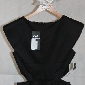 AX Paris Scuba Cut Out Black Skater Dress